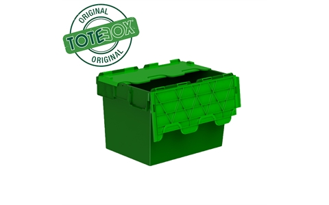 Totebox Attached Lid Container - 64 Litre - Green - Overall Size  H365mm x W400mm x D600mm