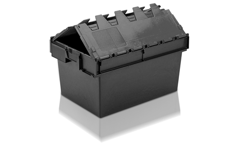 Totebox Attached Lid Container - 54 Litre - Grey - Yellow Lid - Overall Size  H320mm x W400mm x D600mm
