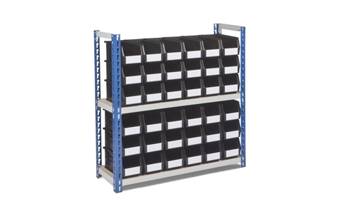 Half Height Budget Shelving with Recycled Linbins - H915mm x W900mm x D300mm - 2 Chipboard Shelves - Blue Uprights - with 30 x Size 5 Black Linbins