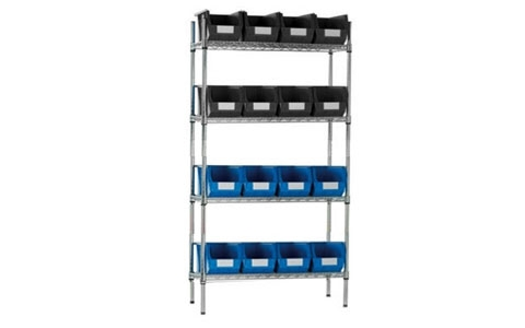 Chrome Shelving with Black/Blue Linbins - H1625mm x W915mm x D355mm with16 x size 7 Linbins