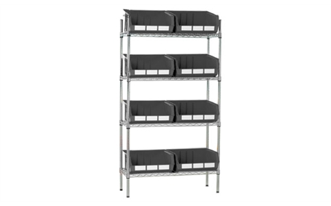 Chrome Shelving with 8 Grey Linbins - H1625mm x W915mm x D355mm - 8 x size 8 Linbins