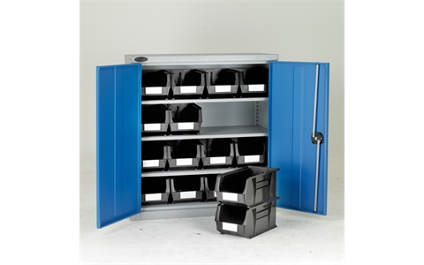 Low Steel Cabinet with Grey Linbins - H1015mm x W915mm x D460mm - Blue Doors - 3 Shelves - with 16 x size 7 Linbins