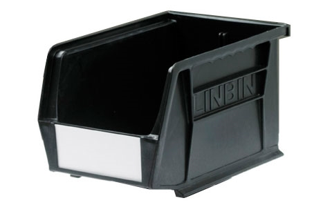 Size 4 Linbins - H130mm x W140mm x D210mm - Pack of 10 - Black Recycled Storage Bins