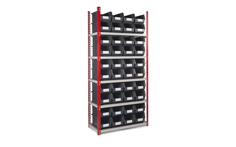 Standard Duty Shelving with Linbins - H1980mm x W900mm x D450mm - 5 Shelves - Red Uprights - with 40 x Size 7 Grey Linbins
