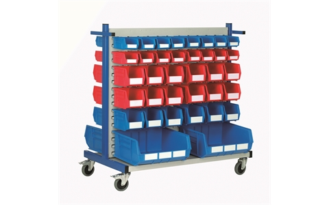 Louvre Panel Trolley with 72 Red/Blue Linbins - H1100mmx W600mm x L1100mm with 16 x size 2 -  16 x size 3 -  36 x size 4 and 4 x size 8 Linbins