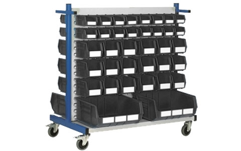 Louvre Panel Trolley with 72 Grey Linbins - H1100mmx W600mm x L1100mm with 16 x size 2 -  16 x size 3 -  36 x size 4 and 4 x size 8 Linbins