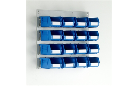 Small Wall Mounted Louvre Panel with 16 Blue Linbins - H450mm x W500mm - with 16 x Size 2 Linbins