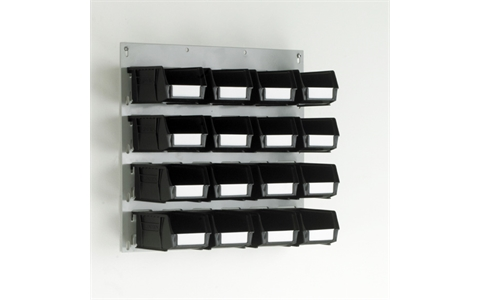 Small Wall Mounted Louvre Panel with 16 Grey Linbins - H450mm x W500mm - with 16 x Size 2 Linbins