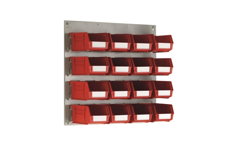 Small Wall Mounted Louvre Panel with 16 Red Linbins - H450mm x W500mm - with 16 x Size 2 Linbins