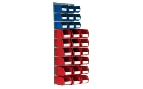 Wall Mounted Louvre Panel Kit 6 - H1400xW500mm - 27 x Size 5 & 4 , Red/Blue Linbins