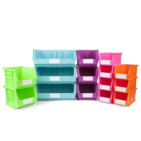 Size 8 Neon Linbins - H180mm xW420mm x D375mm - Pack of 5 - Purple Storage Bins
