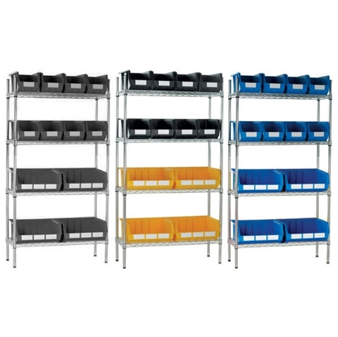 Chrome Wire Shelving & 12 Linbins