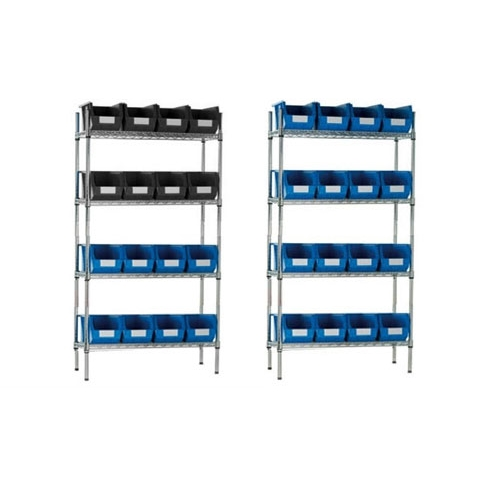 Chrome Wire Shelving & 16 Linbins