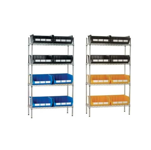 Chrome Wire Shelving & 8 Linbins